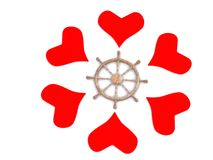 Hearts around rudder Stock Images