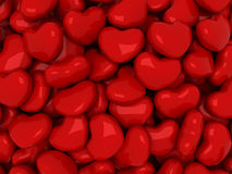Hearts array. Many red hearts with glare Royalty Free Stock Images