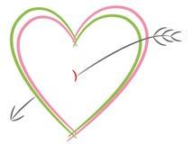 Hearts with arrow Royalty Free Stock Photos
