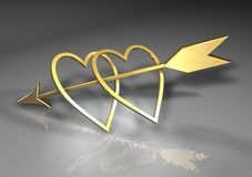Hearts and arrow. Arrow  and hearts in valentine day wedding love Royalty Free Stock Photo