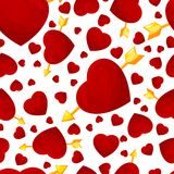 Hearts and arrow seamless background. Royalty Free Stock Photo