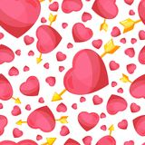 Hearts and arrow seamless background. Royalty Free Stock Photography