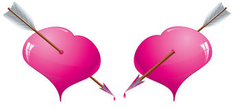 Hearts with arrows Royalty Free Stock Image