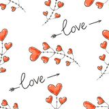 Hearts, arrows and love inscription. Seamless background for Valentine Day. Romantic vector pattern for wallpaper, wrapping, desig. N of greeting cards, leaflets stock illustration