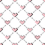 Hearts and arrows seamless pattern. Robot in love Royalty Free Stock Images