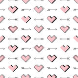 Hearts and arrows seamless pattern. Robot in love Stock Photography