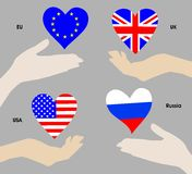 Hearts as the national flags Royalty Free Stock Photo