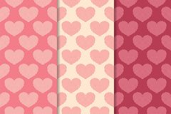 Hearts as seamless patterns. Cherry red and beige romantic backgrounds. Hearts as seamless patterns. Cherry red and beige romantic vertical backgrounds. Vector stock illustration