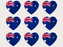 Hearts with the Australian flag. I love the Australia. Australian flag icon set. Vector Stock Photo