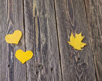 Hearts of autumn leaves Royalty Free Stock Photography