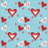 Hearts background. Blue background with red and white hearts Stock Illustration