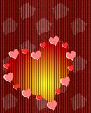 Hearts background with flowers in red Stock Photo