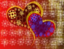 Hearts on abstract background with stars Stock Image