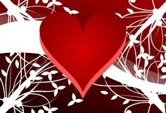 Hearts on floral background in red Royalty Free Stock Photography
