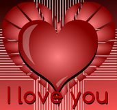 I love you background in red with heart Stock Photo