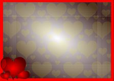 Hearts on background in red tones. Image representing three red hearts on a fantsy background Stock Photography