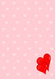 Hearts background. Two red hearts on pink background with pattern of smaller lighter hearts Stock Photos