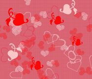 Hearts Background. A digitally generated background of different colored and shapes of hearts Stock Photography
