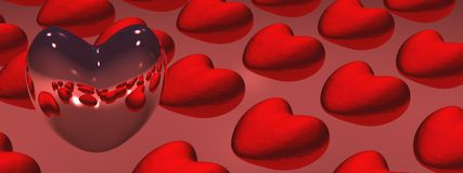 Hearts (background). 3D red hearts panoramic background Royalty Free Stock Photography