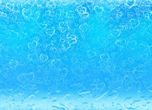 Hearts background in a blue underwater backgrounds. Love texture Royalty Free Stock Photo