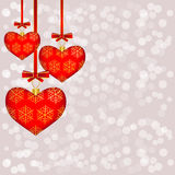 Hearts on the background with bokeh Stock Photography