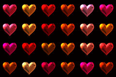 Colored hearts background Stock Images
