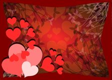 Hearts on background with floral fantasy. Image representing some red hearts on a fantasy background Royalty Free Stock Photos