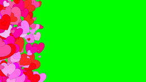 Hearts background. On green screen, 3d animation stock video footage
