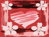 Artistic Heart on background in red tones. Image representing an heart on an artistic background with flowers Royalty Free Stock Images