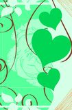 Colorfl Hearts on floral background Stock Image