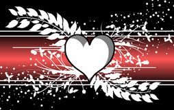 Hearts on background with floral decoration. Image representing three red hearts on a fantasy background Stock Photography