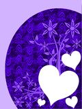 Hearts on background with flowers in blue Stock Photo