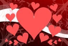 Hearts on background in red Stock Images