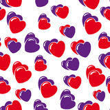 Hearts background isolated on white. Hearts seamless pattern isolated on white Stock Photo