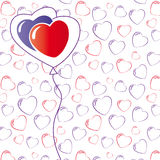 Hearts background isolated on white. Hearts seamless pattern isolated on white Stock Photos
