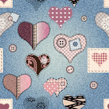 Hearts background with jeans texture Royalty Free Stock Photography
