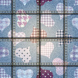Hearts background with jeans texture Stock Photo