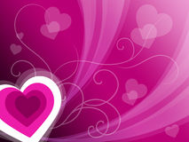 Hearts Background Means Pink Valentines Or Anniversary Card Stock Photos