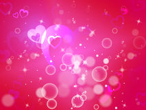 Hearts Background Means Shiny Hearts Wallpaper Or Romanticism Royalty Free Stock Image