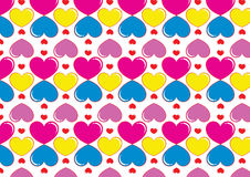 Hearts background in pop art colors. A background composition of hearts in pop art colors Royalty Free Stock Photography