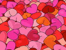 Hearts background in pop art style. Retro holiday backdrop for Valentine Day Royalty Free Stock Photo