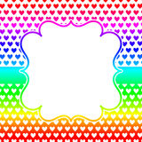 Square hearts frame invitation card. Hearts background with rainbow colors. Squared border frame vintage effect stock illustration
