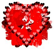Hearts on background in red tones isolated. An heart on an abstract background in red tones. an idea to talk about love stock illustration