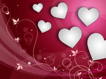 Hearts Background Represents Love Template And Valentine. Background Hearts Meaning Valentines Day And Passion Stock Image