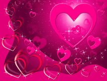 Hearts Background Shows Loving Affection And Romance Royalty Free Stock Photos