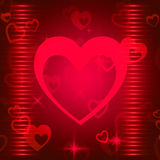 Hearts Background Shows Romance  Attraction And Affection Stock Photography