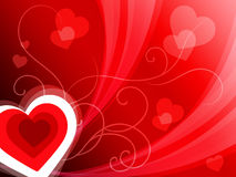 Hearts Background Shows Romantic And Passionate Wallpaper Royalty Free Stock Image