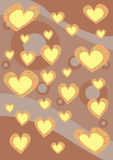 Hearts background texture. Digital background texture with orange hearts on stripes baloon background Royalty Free Stock Images