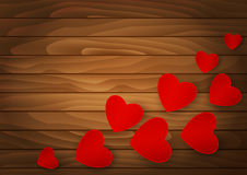 Hearts on the background of wood Royalty Free Stock Image
