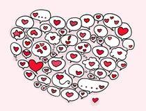 Hearts balloon. Many hearts balloon compose a big heart. Digital illustration Stock Image
